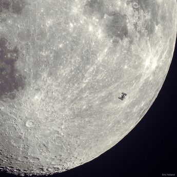 APOD: 2019 April 2 - Space Station Silhouette on the Moon
