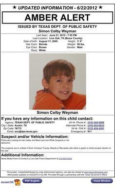 TX AMBER Alert: Simon Weyman: Live Oak TX UPDATE