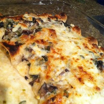 Spinach and Mushroom Enchiladas With Cilantro Cream Sauce