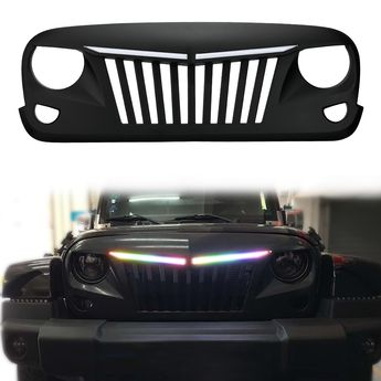 Jeep Wrangler JK Grill with RGB Sequential LED Light Bars