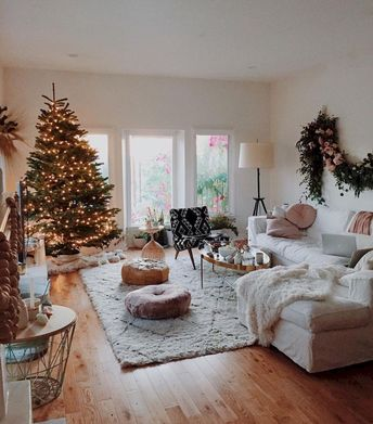 75 Comfy Rustic Farmhouse Christmas Living Room Decor Ideas