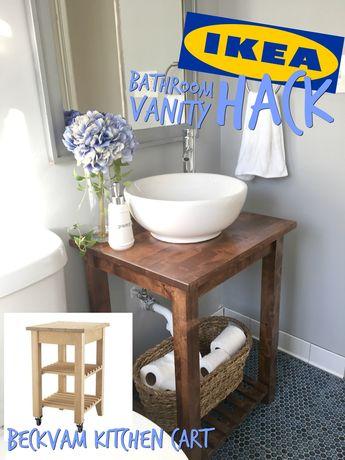 IKEA Hack Bathroom Vanity with Bekvam Kitchen Cart