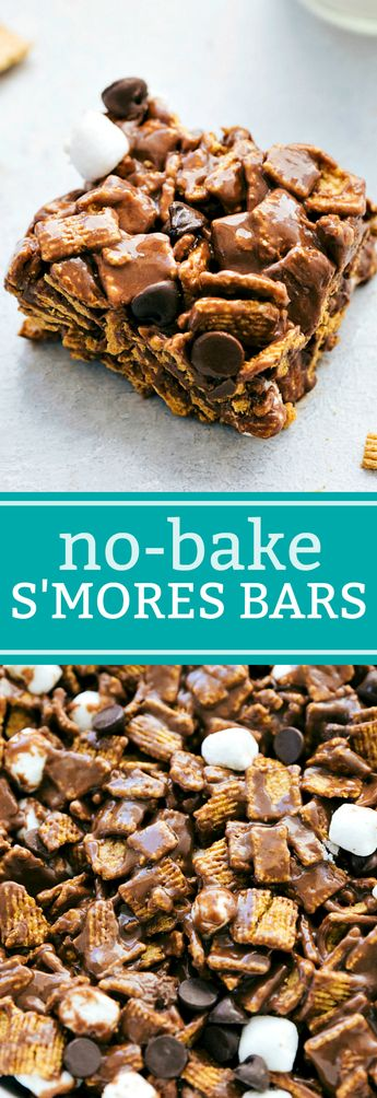 Super simple (10 minutes prep!), no baking required, s'mores bars -- graham cracker flavored cereal, marshmallows, and milk chocolate. chelseasmessyapron.com