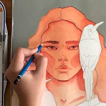 Motmot - gradient print, Nature, Bird, Watercolor, Art, Wildlife - by Polina Bright