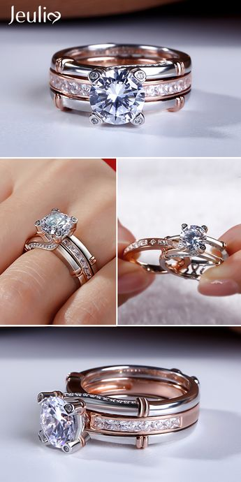 Interchangeable Round Cut Wedding Ring Sets Rose Gold and Sterling Silver Bridal Set