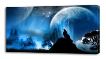 Details about 4 Sizes - Howling Wolf Full Moon CANVAS PRINT Wall Decor Art Giclee Animals