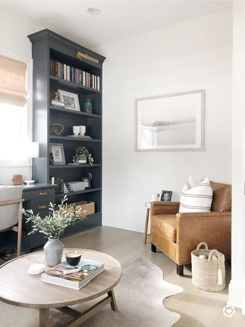 Office with Benjamin Moore simply white walls, cheating heart built ins, leather chair, brass hardware #office #officedesign #officedecor