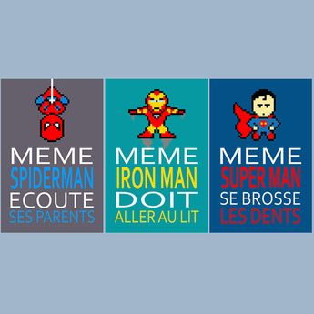 3 posters with superman, iron man, spiderman, humour, children wall art, bathroom