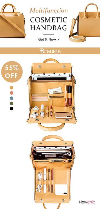 【US$ 54.20】Women Solid Cosmetic Handbag Capacity Bag Multifunction Crossbody Bag #workbag #handbags #travelbags #yellowoutfits #winteroutfits