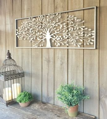 Silver Pewter Finish Metal Wall Art tree of Life - for above our bed