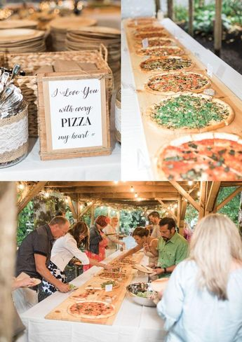 A photo of catered pizza during a reception for a summer wedding at Maroni Meado...