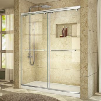 DreamLine Charisma 30 in. x 60 in. x 78.75 in. Semi-Frameless Sliding Shower Door in Chrome with Center Drain White Acrylic Base-DL-6940C-01CL