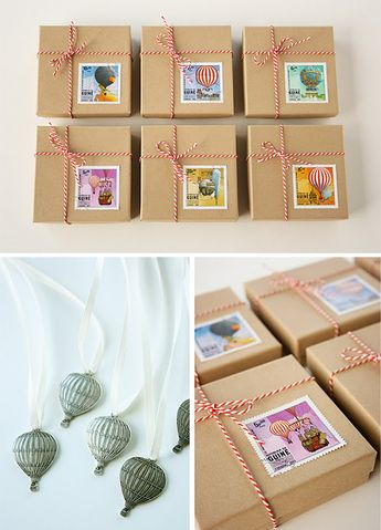 Hot Air Balloon Party Favor Boxes -decorated with vintage stamps and twine.
