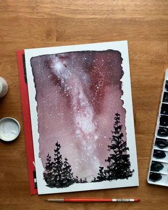 Aquarelle La voie lactée ciel nocturne