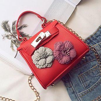 Women's Bags PU Leather Shoulder Messenger Bag / Top Handle Bag Flower Brown / Sky Blue / Khaki