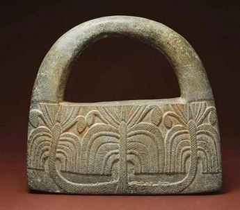 IRAN, JIROFT STONE CEREMONIAL OBJECT WITH THE IMAGE OF PALM TREES, ca. 3,000 B.C.