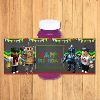 Roblox Bubble Label Chalkboard Bottle Party Favors Birthday