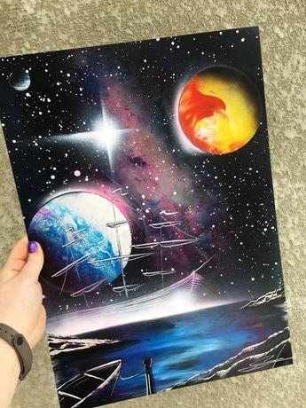Space painting Spray paint art Space landscape Space art Nebula painting Ship painting Boat painting Planet painting Night landscape starry