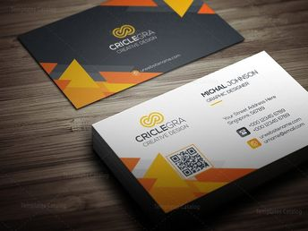 Business Card Template with Triangle Shapes - Graphic Templates