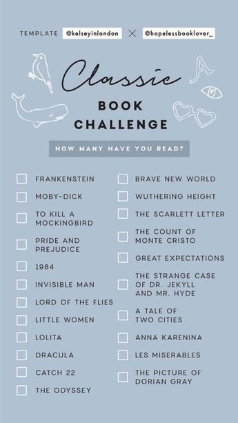 Classic Book Challenge Instagram Story Template - Classic Books I've Read