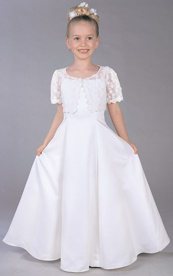 e22a38b81b Buy Bewitching Short Sleeves Lace Satin Scoop Neckline Floor Length First  Communion Gown Online Cheap Prices