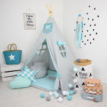 Nursery Tent, Gray Teepee, Star Tent, Blue Teepee, Tee Pee, Play Mat, Reading Lamp, Baby Blue Teepee Tent, Play Teepee, Toddler Teepee Tent