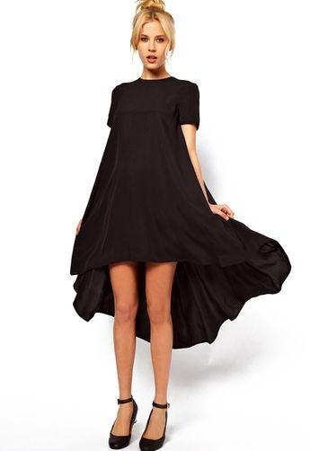 7135626f2cf5 High Low Loose Black Dress