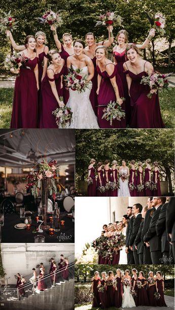 A-Line Spaghetti Straps Cold Shoulder Long Burgundy Bridesmaid Dress