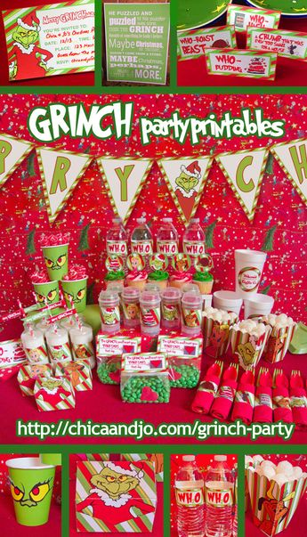 "Grinch party ideas and printables for throwing a ""How the Grinch Stole Christmas"" party. Included invitations, banners, labels, favor bags, popcorn boxes, water bottle lables, cupcake picks and more!"