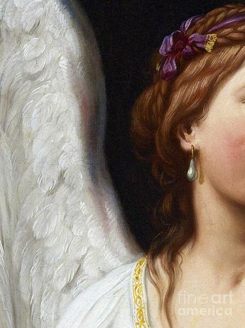 Closeup Painting - The Angel With The Pearl Earring Closeup by Tina Lavoie