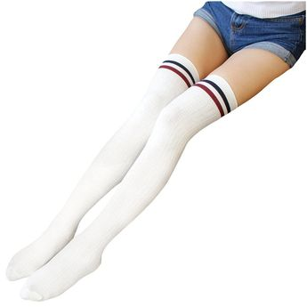 e7bbbd4f42a 3.89AUD - Women Stripe Tube Dresses Over The Knee Thigh High Stockings  Cosplay Sock Hy