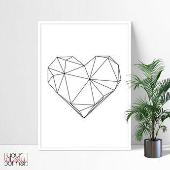Geometric Heart Printable Wall Art, Modern Minimalist Wall Art Prints, Geometric Wall Art, Scandinavian Art Digital Download, Abstract Print