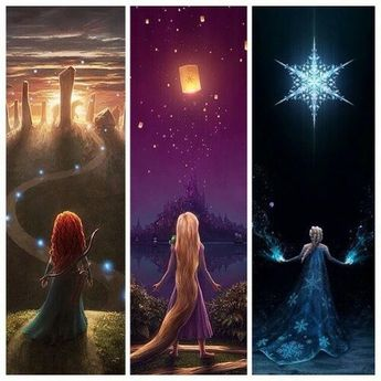 Merida, Rapunzel and Elsa More