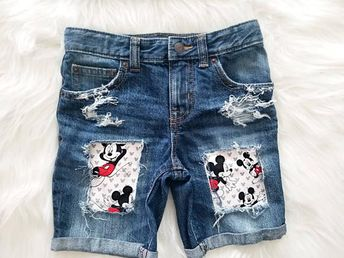 1402baa81 Summer edition mickey mouse inspired baby toddler boy distressed patched  short outfit mickey birthda