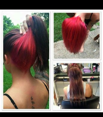 Brown hair with red underneath. More