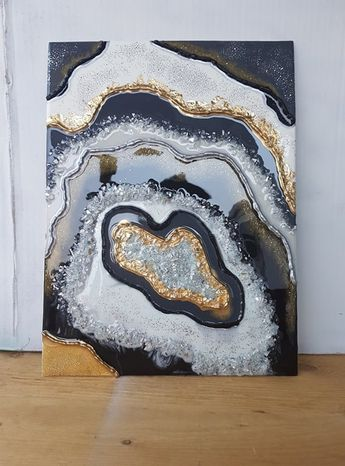 """SOLD!! 12""""x16"""" Black, white and gold geode resin painting. Acrylic and Resin liquid pour on canvas, by Canadian Artist Sharon.M.Mark"""