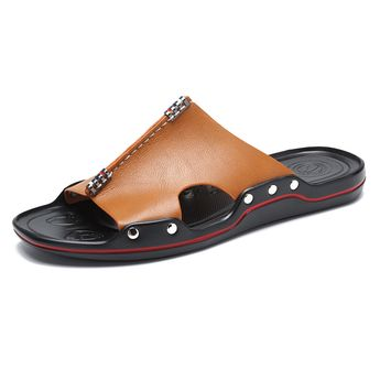 Men Metal Decoration Opened Toe Comfy Soft Sole Casual Beach Slippers