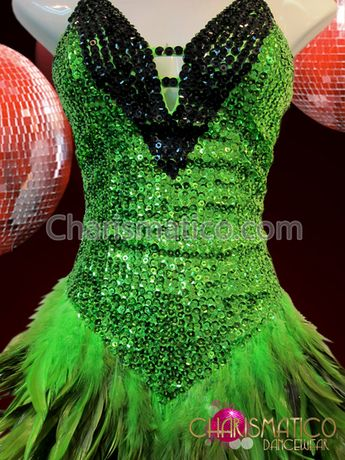0d88f6e1d CHARISMATICO Green And Black Sequin Latin Dance Dress With Feathered Skirt