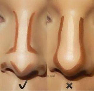 Glowadvice No olvides contorneada tu nariz como lo muestra la primera imagen El estilizar nuestro rostro de forma correcta dependerá de dónde apliquemos los contornos de tipo 2 no utilices colores muy oscuros que sean complicados de difuminar o productos que sean muy oleosos sobre todo en esta área recuerden chicas menos es más #lessismore . #glowcandymakeup #glowadvice #makeupartist #MUA #girls #nose #glam #contornos