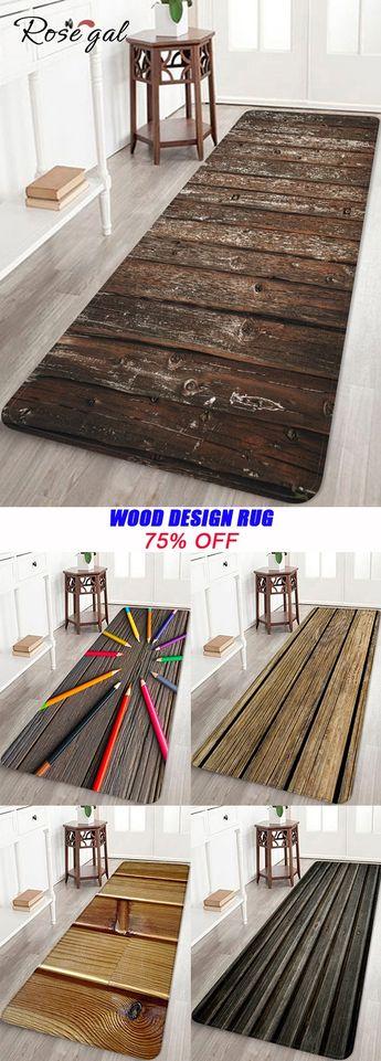 Wood Design Bath Rug Creative House Decoration #Rosegal #decoration