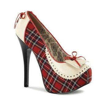 Women's Bordello Teeze 26 - Cream PU/Red Plaid Fabric Heels