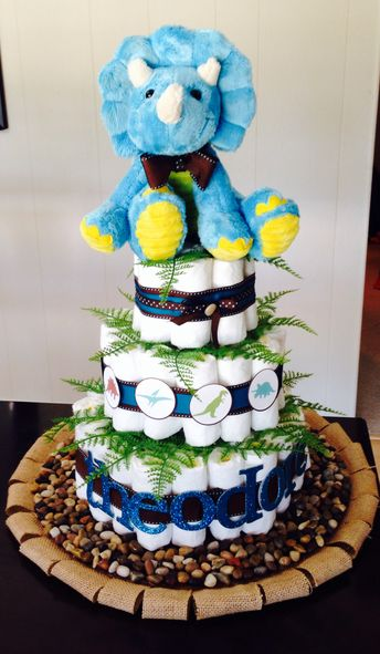 Dinosaur Diaper Cake by Colorfully Created