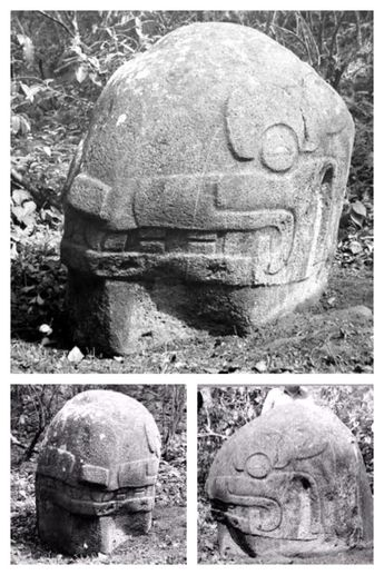 Interesting set of old photographs of a Giant Stone Head… It's seems half of it is still underground and what's visible is the helmet… I tried to locate this head but not having and luck. The only information or rumor says its origins are from Escuintla, Guatemala, home of the other stone heads found in the area…