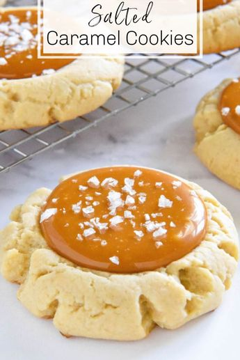 These easy Salted Caramel Cookies start with giant, bakery style, soft sugar cookies, filled with tons of chewy, salted caramel and topped with flaked sea salt! #SaltedCaramelCookies #SaltedCaramel #Cookies #Caramel #Dessert #CookieRecipes #CaramelRecipes