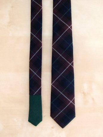 0e56c36b6bd8 Aaron Men's Skinny Necktie Classic point-end - Plaid navy/brown/green Neck
