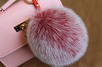 2f0f49eb039e HEARTFEEL Real Fox Fur Pom Pom Ball Keyring   Bag Purse Charm Gold Ring Key  Chain