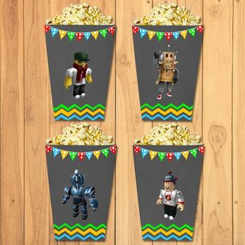 Roblox Mini Popcorn Boxes Chalkboard Party Favors Birthday