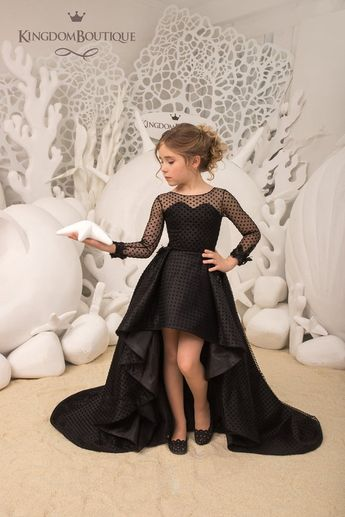 Black Flower Girl Dress Birthday Wedding Party Holiday Bridesmaid Flower Girl Black Dress 21-114