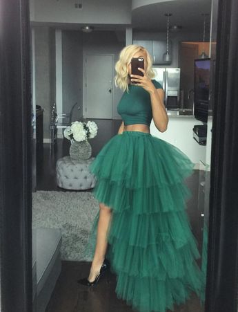 Oyemwen Tiered High Low Tulle Maxi Tutu Skirt Green and Shirt (Set)