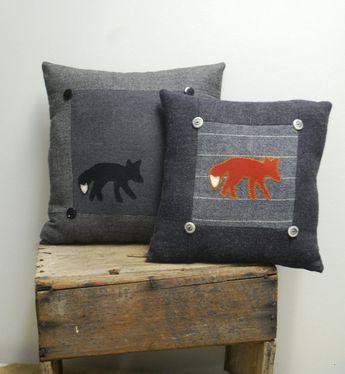 Black Fox Pillow Cabin Decor Wool Eco-friendly Lodge Decorative Accent Pillow Woodland Charcoal Gray Grey via Etsy